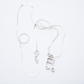 Colgante 3D semicorchea (plata de ley)