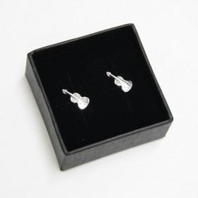 Mini pendientes violín (plata de ley)