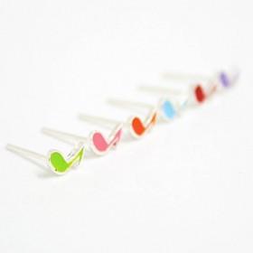 Mini pendientes corchea colores (plata de ley)