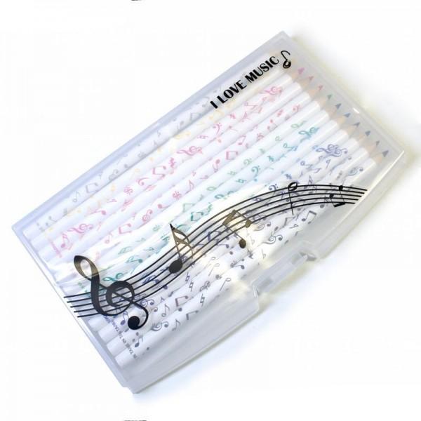 Estuche con 12 lápices de colores con decoración de notas musicales