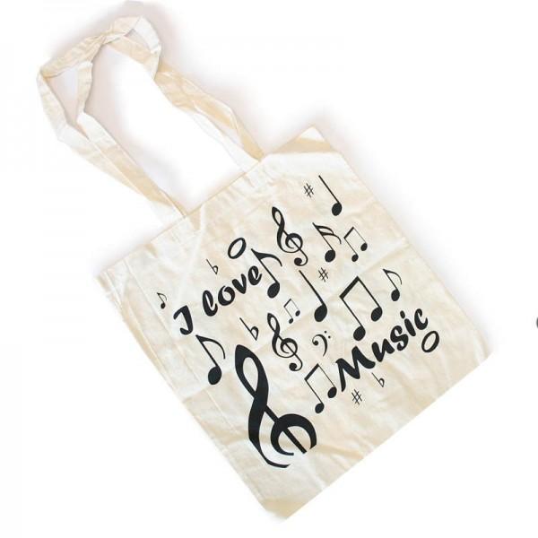 Bolsa de algodón natural con diseño de notas musicales y la inscripción I Love Music. 41 x 37 cm