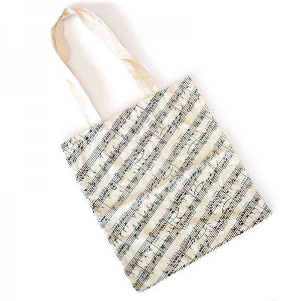 Bolsa de algodón natural con diseño musical de partitura. 42 x 38 cm