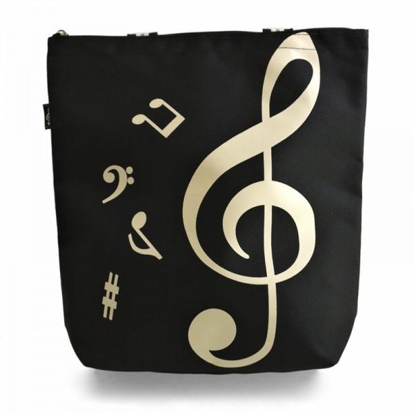 Bolso grande y práctico donde podrás llevar todo lo que necesites en tu día a día. De color negro, con un diseño musical en la parte delantera.