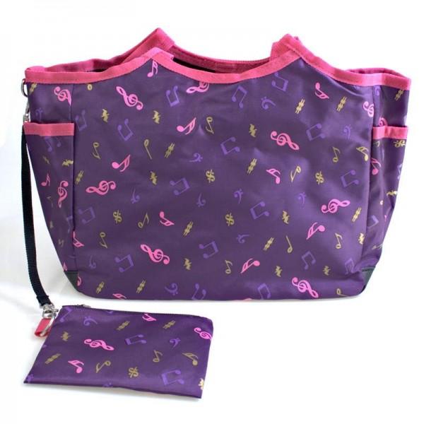 Bolso lila con notas musicales estampadas. Varios bolsillos interiores y exteriores y una pequeña bolsita como accesorio.