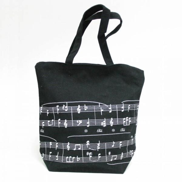 Bolso de lona negro con diseño musical de Partitura