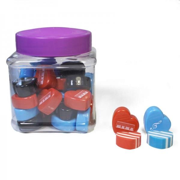 Pack de 30 unidades de gomas en forma de corazón y decoraciones musicales. Colores y modelos variados.