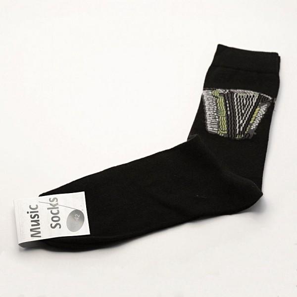 Calcetines negros estampados con motivo de acordeón. Escoge tu talla.