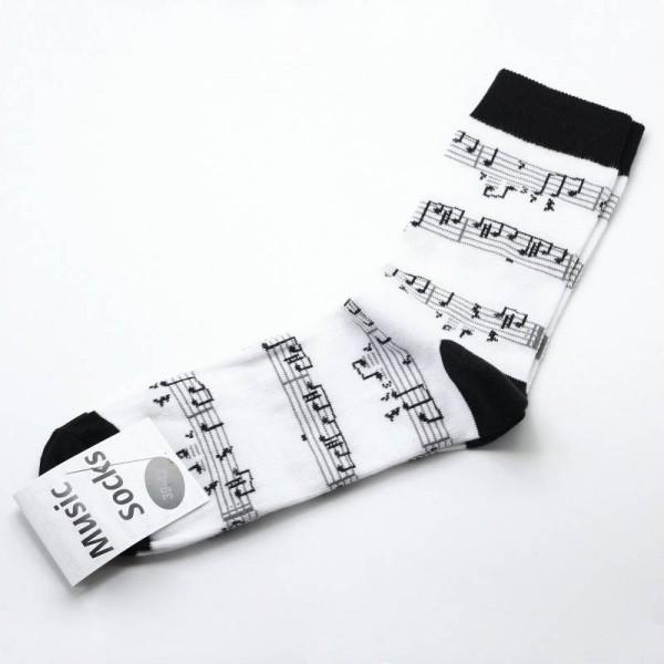 Calcetines musicales estampados con diseño musical de partitura, escoge tu talla.