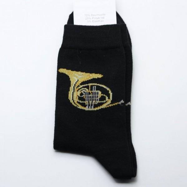 Calcetines negros estampados con diseño musical de trompa, escoge tu talla
