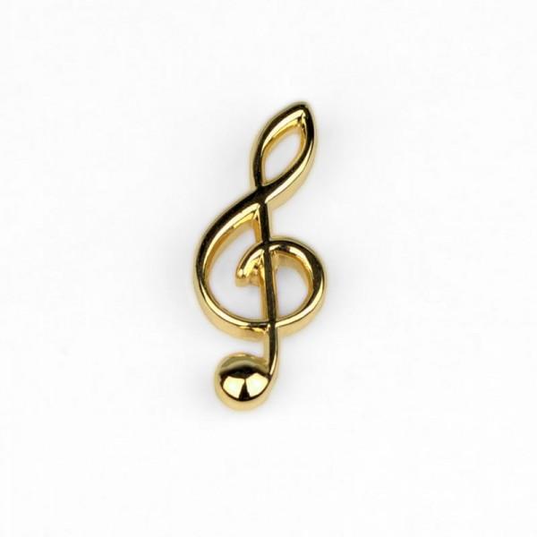 Pin para poner en la solapa, de color dorado y modelo musical de Clave de Sol. Caja incluida.