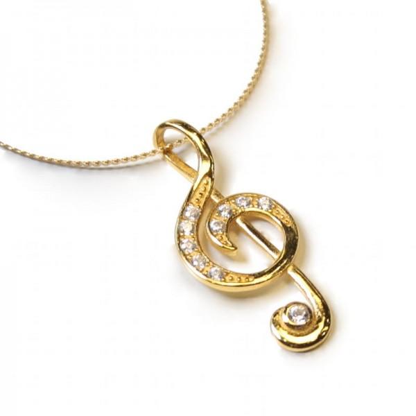 Colgante con diseño musical de Clave de Sol, baño de oro y circonitas, con cadena y caja.