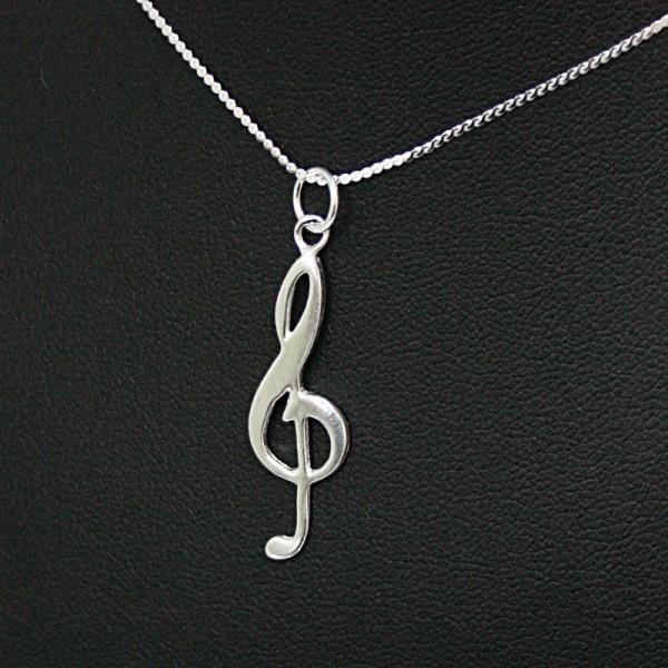 Colgante fabricado en Plata de Ley con diseño musical de Clave de Sol
