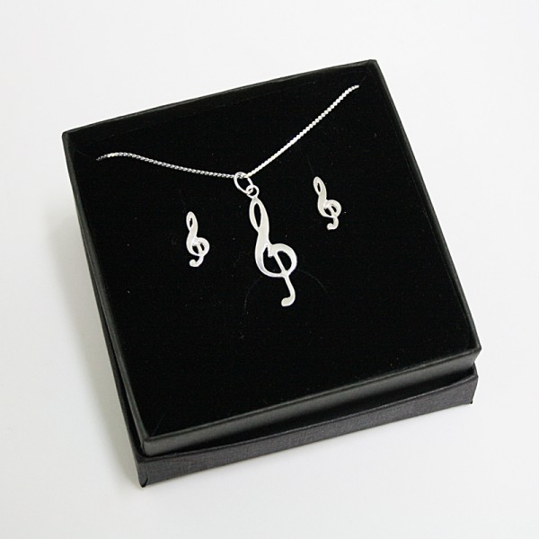 Conjunto de colgante y mini pendientes fabricado en Plata de Ley con diseño musical de Clave de Sol