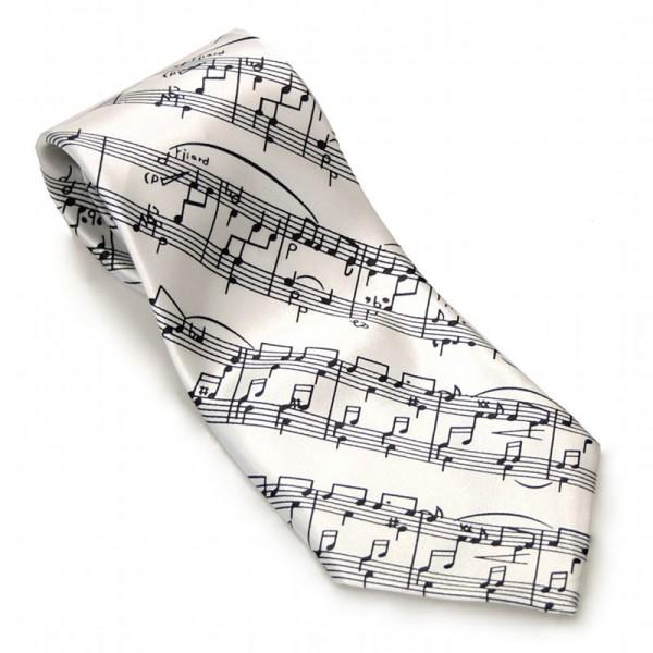 Corbata de poliéster blanca con decoración musical de partitura negra.