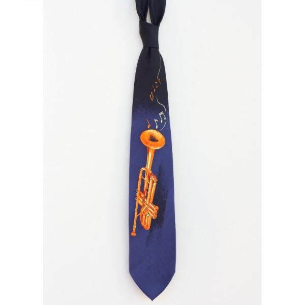 Corbata de poliéster azul con decoración musical de trompeta. Fabricada a mano.