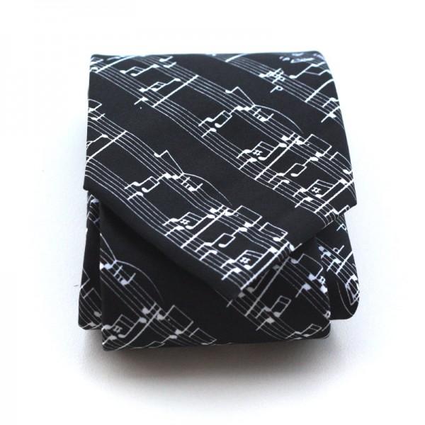 Corbata de poliéster negra con decoración musical de partitura blanca. Fabricada a mano.