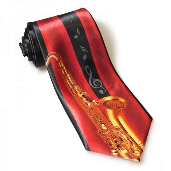 Corbata de poliéster con decoración de saxo. Fabricada a mano