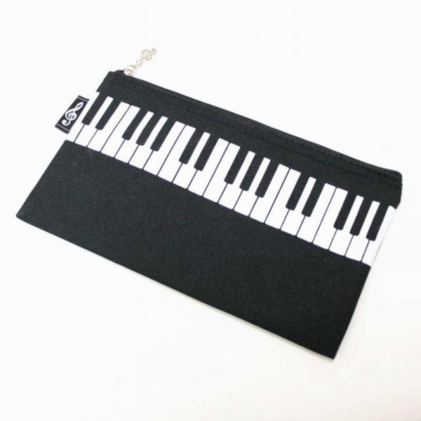 Estuche de nylon con decoración de teclado. Color negro