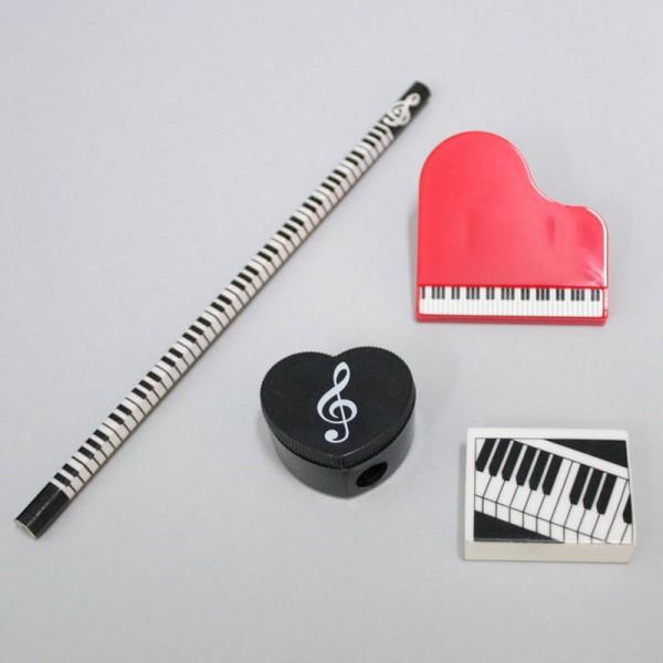 Pack con 1 lápiz, pinza, goma y sacapuntas. Decoración teclado