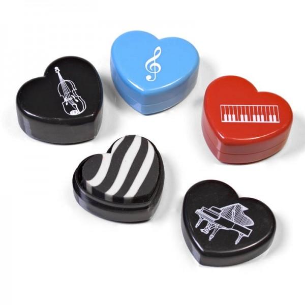 Goma de borrar con forma de corazón y temática musical. Escoge el modelo que más te guste. Precio por unidad.