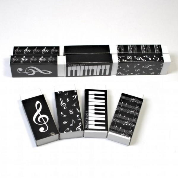 Goma con funda y diseños musicales. Paquete de 10 unidades variadas.