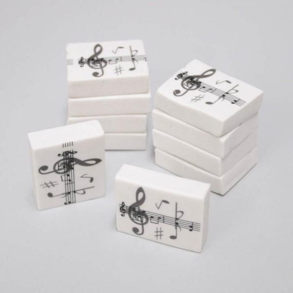 Goma de borrar con diseño de Notas Musicales. Pack de 10 unidades.