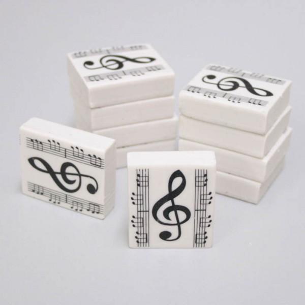 Goma de borrar con diseño de Clave de Sol y Partitura musical. Pack de 10 unidades.