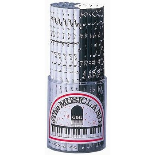 Lápiz con decoración de notas musicales en blanco y negro. Pack de 60 unidades