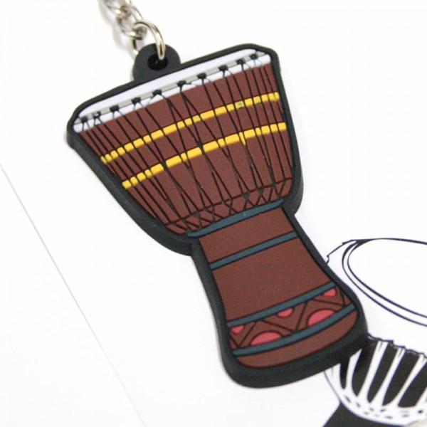 Llavero musical con forma de djembé de PVC