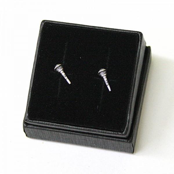 Mini pendientes musicales de plata de ley con forma de micrófono. Con estuche