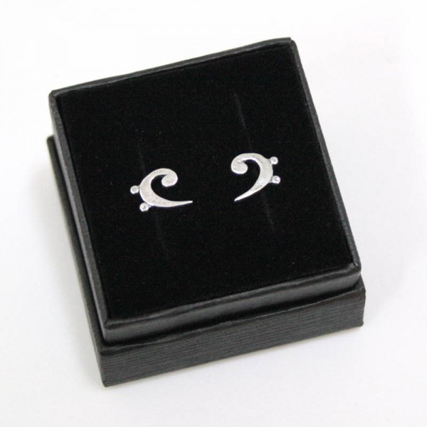 Mini pendientes para músicos de Plata de ley con forma de Clave de Fa. Con estuche.