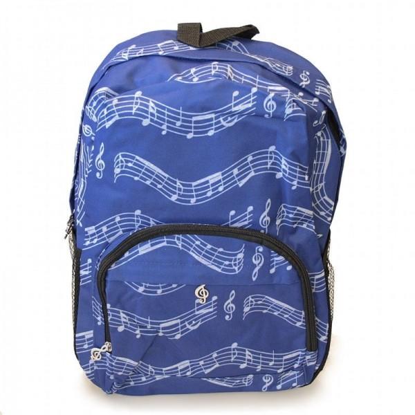 Mochila azul con un patrón de partitura musical, 3 bolsillos con cremallera y 2 bolsillos laterales elásticos para botellas de agua.