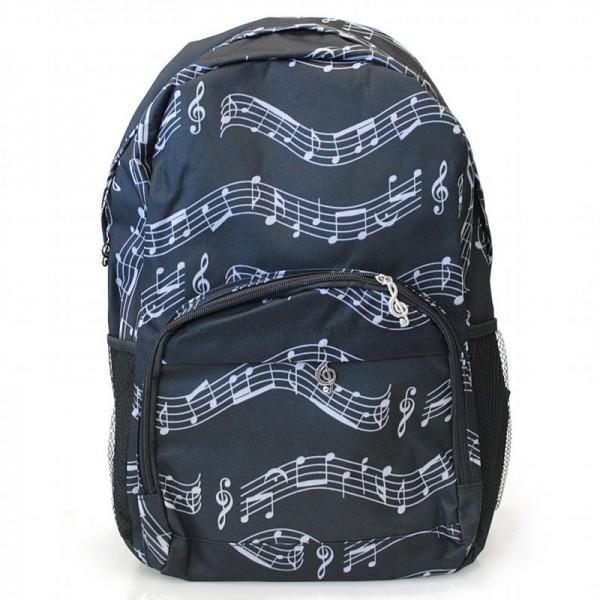 Mochila negra con un patrón de partitura musical, 3 bolsillos con cremallera y 2 bolsillos laterales elásticos para botellas de agua.