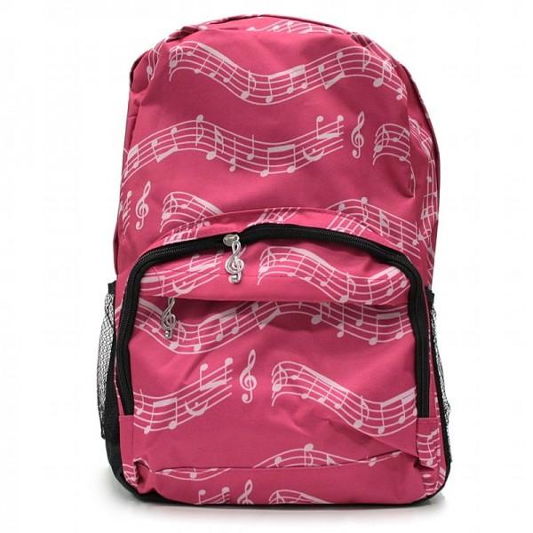 Mochila rosa con un patrón de partitura musical, 3 bolsillos con cremallera y 2 bolsillos laterales elásticos para botellas de agua.