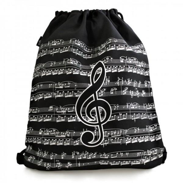 Un diseño musical único para una bolsa que puedes llevar de dos maneras: como bolso de mano o como mochila a la espalda. Tu escoges.