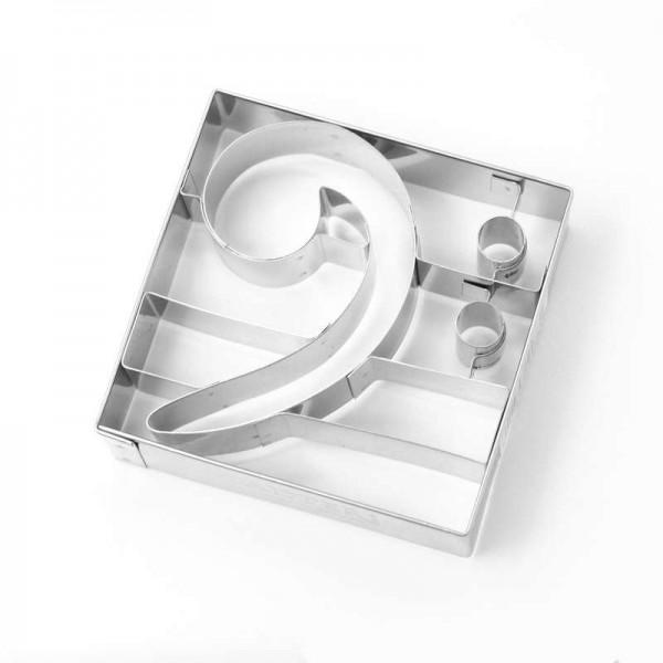 Molde de metal para cortar galletas con forma de Clave de Fa. 6,8 x 6,5 x 2 cm