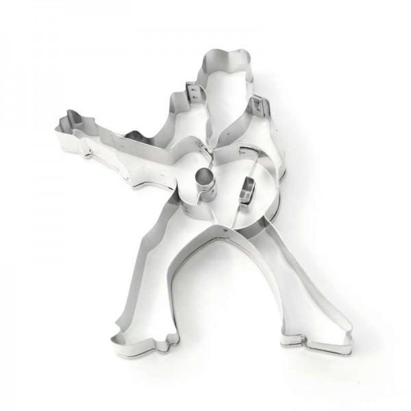 Molde de metal para cortar galletas con forma de Guitarrista Estrella de la Música. 10,7 x 7,2 x 2 cm