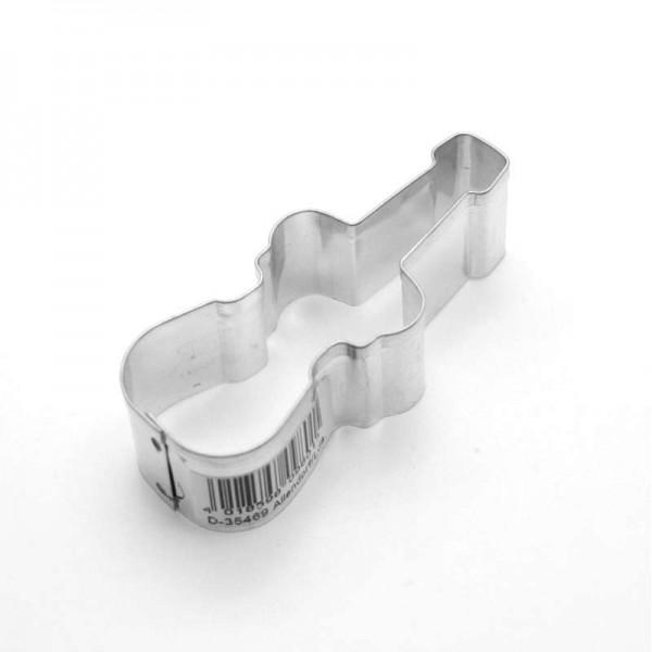 Molde de metal para cortar galletas con forma de Violín. 5,7 x 2,7 x 2,2 cm