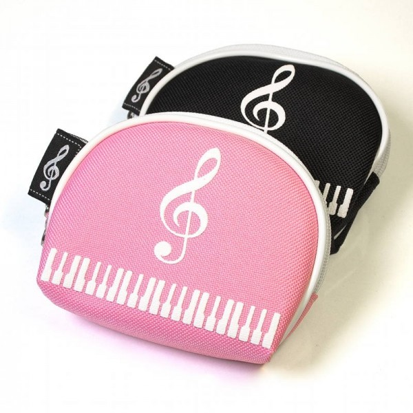 Monedero con decoración de Clave de Sol y piano, y forma de semicírculo. Disponible en 2 colores: rosa y negro.