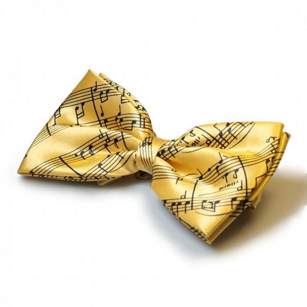 Pajarita amarilla con decoración de partitura negra. Ajustable.