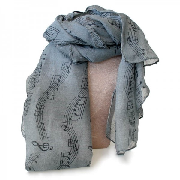 Pañuelo con decoración de partitura musical. Color gris.