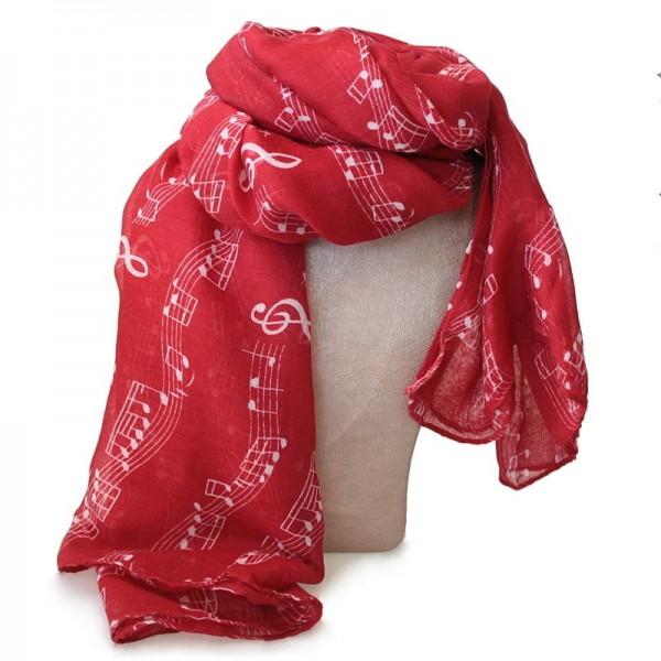 Pañuelo con decoración de partitura musical. Color rojo.