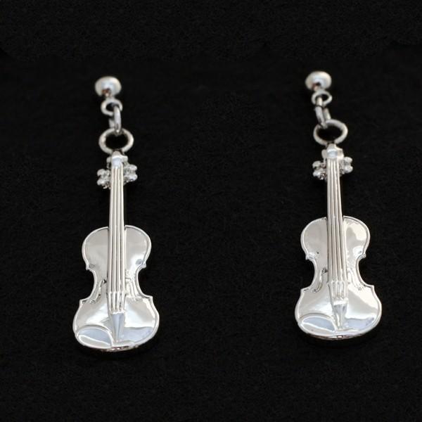 Pendientes plateados en forma de violín, perfectos para cualquier amante de la música. Cierre tipo mariposa. Con estuche.
