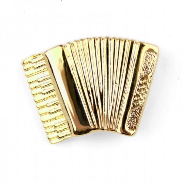 Pin para poner en la solapa, de color dorado y modelo musical de Acordeón. Caja incluida.