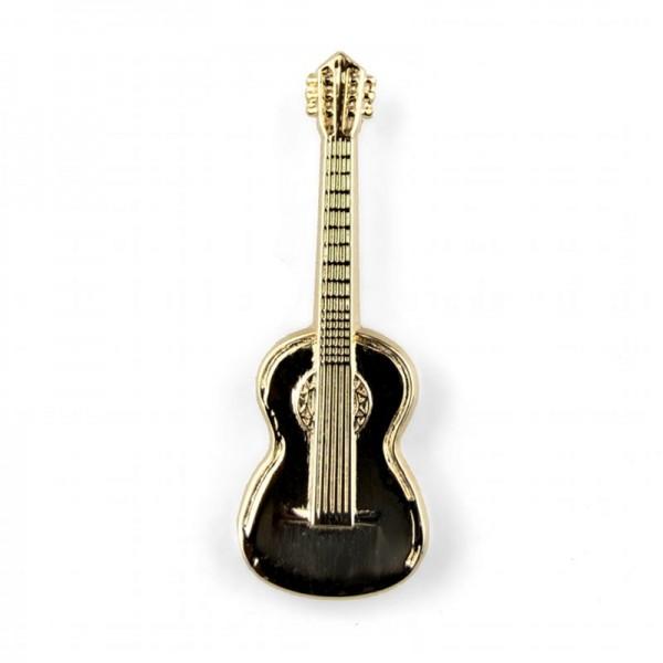 Pin para poner en la solapa, de color dorado y modelo musical de Guitarra Clásica. Caja incluida.