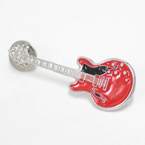 Pin metálico plateado con forma de guitarra Epiphone. Con 2 enganches mariposa.