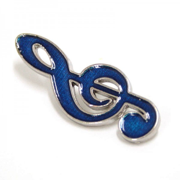 Pin metálico plateado con forma de Clave de Sol de color azul. Con un enganche mariposa.