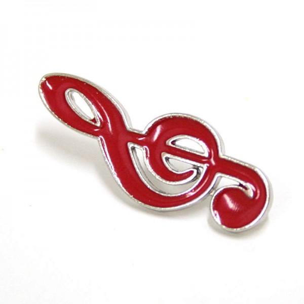 Pin metálico plateado con forma de Clave de Sol de color rojo. Con un enganche mariposa.