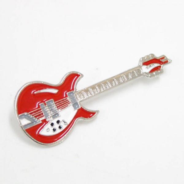 Pin metálico plateado con forma de guitarra Rickenbacker. Color rojo.