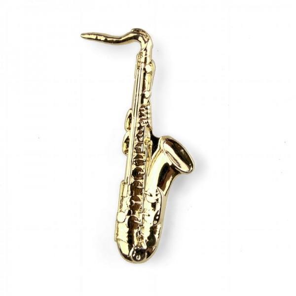 Pin para poner en la solapa, de color dorado y modelo musical de Saxo. Caja incluida.